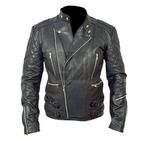 Classic Diamond Motorcycle Biker Brown Distressed Vintage Real Leather Jacket Black Colour