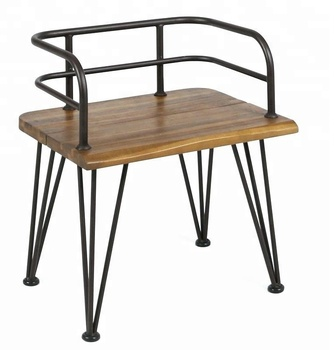 Vintage Industrial Metal Restaurant Furniture, Iron U0026 Wood Patio Chair, Acacia  Wood U0026 Iron