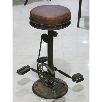Pleasing Indian Industrial Round Cycle Design Leather Seat Antique Finish Adjustable Height Bar Stool Buy Adjustable Stool Fixed Bar Stool Antique Metal Ibusinesslaw Wood Chair Design Ideas Ibusinesslaworg