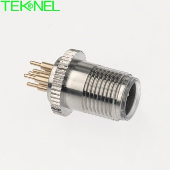 M12 male PCB panel mount connector 2P, 3P, 4P, 5P, 6P, 8P soldering circular connector