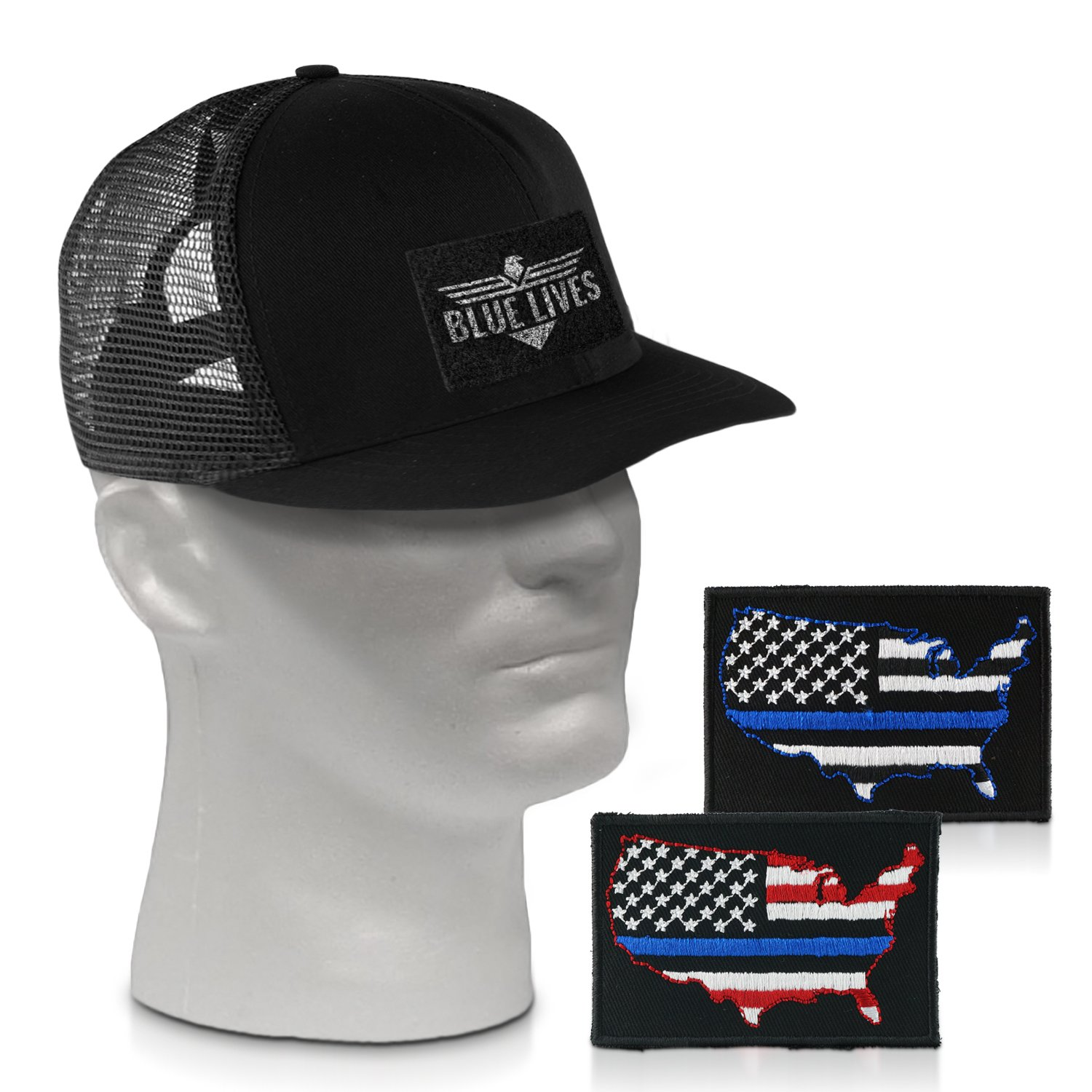 2b5ffa64dab03 Get Quotations · Blue Lives Matter Hat with 2 Thin Blue Line Patch