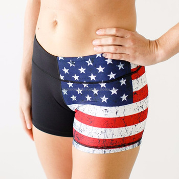 Women s Digital Sublimation American Flag Booty Shorts   Crossfit booty  shorts   Workout Special Booty shorts fb868069e9