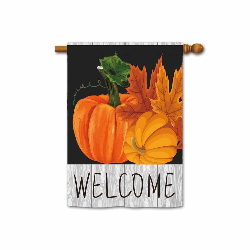 "KafePross Welcome Fall Pumpkin and Leaves House Flag 28""x40"""