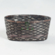 Oval black bamboo storage basket