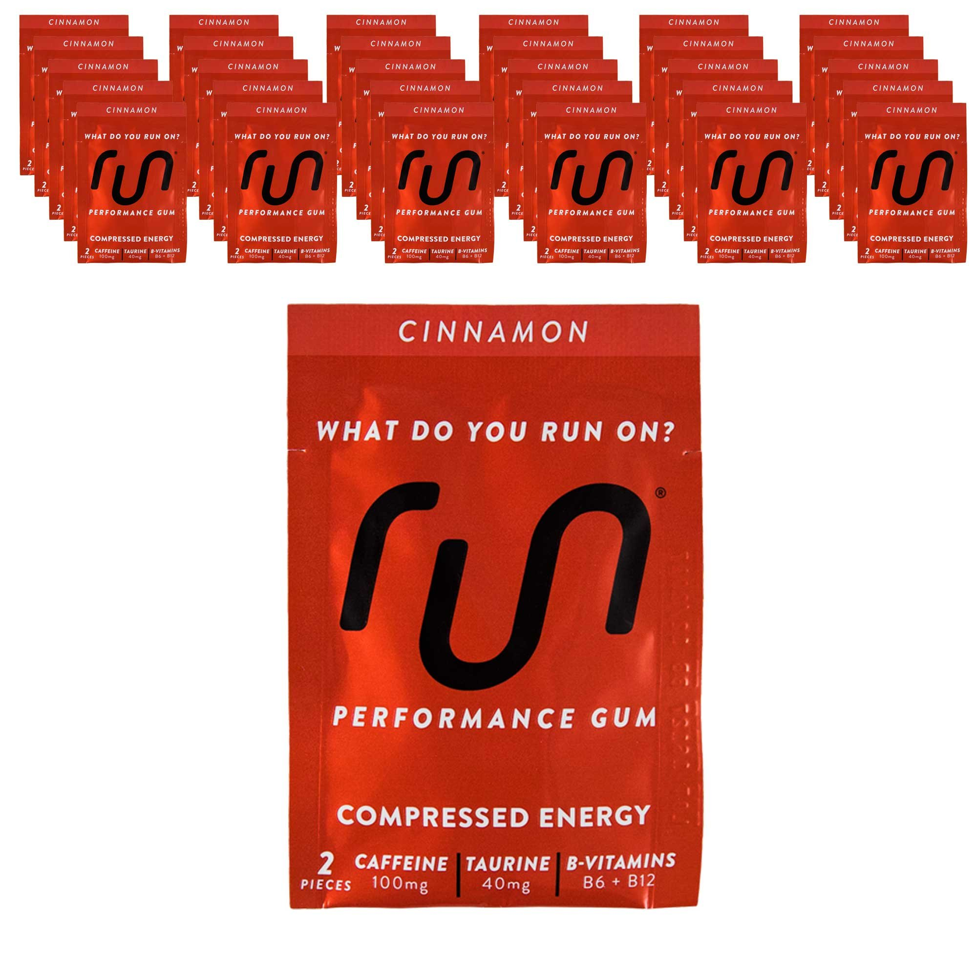 RUN GUM Cinnamon Energy Gum 50mg Caffeine Taurine & B-Vitamins (30pk), 2 Pieces = 1 coffee/Energy drink, Quick Energy Boost
