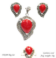 Natural stone jewelry set 925 Sterling silver with Swiss marcasite stone