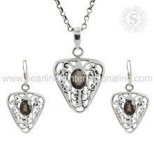 Aggressively smoky quartz gemstone jewellery 925 sterling silver jewelry set jaipur handmade silver jewelry set for girls
