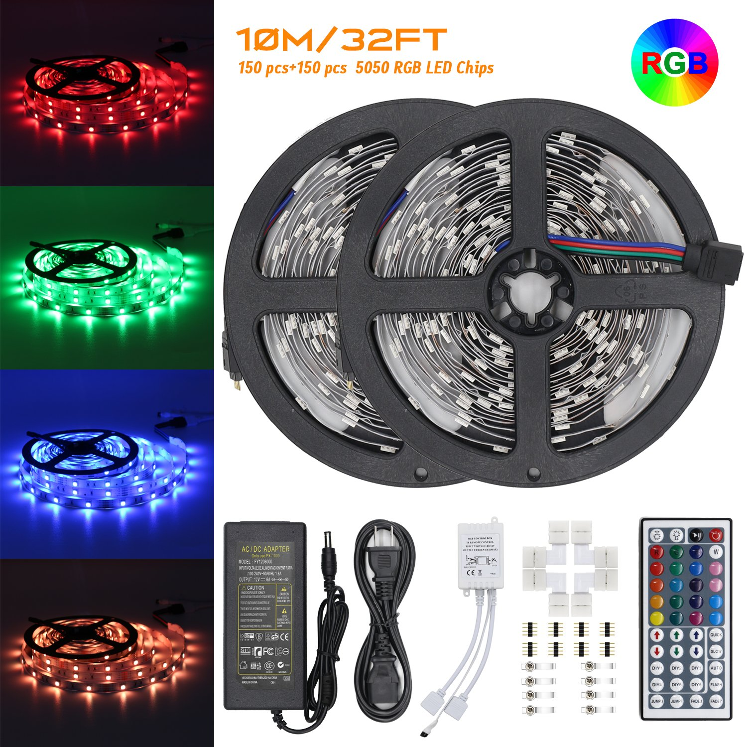 LED Strip Lights Kit – 32.8ft 300 LED SMD 5050 RGB Light with 44 Key Remote Controller and Power Adapter, Extra Adhesive 3M Tape, Flexible Changing Multi-Color Lighting Strips for TV, Room, Car (10M)