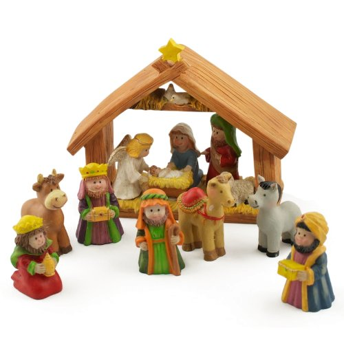 "5"" x 6"" Manger Miniature Nativity Scene Set with 2"" Resin Figurines"
