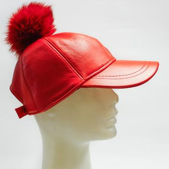 f67f3a7486a Womens Adjustable Genuine Leather Baseball Cap With Pompom ...