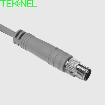 M8 male molded cable connector, 2P, 3P, 4P circular waterproof connector