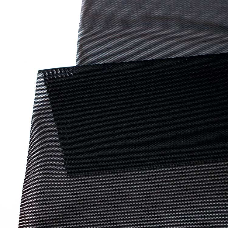 Black Nylon Recycle stretchy breathable sportswear side strip fabric