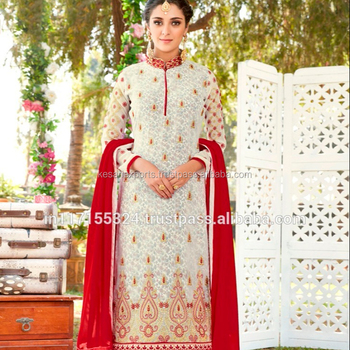 0dca99ff3 Cream Party Wear Georgette Embroidered Work Churidar Suit - Buy ...
