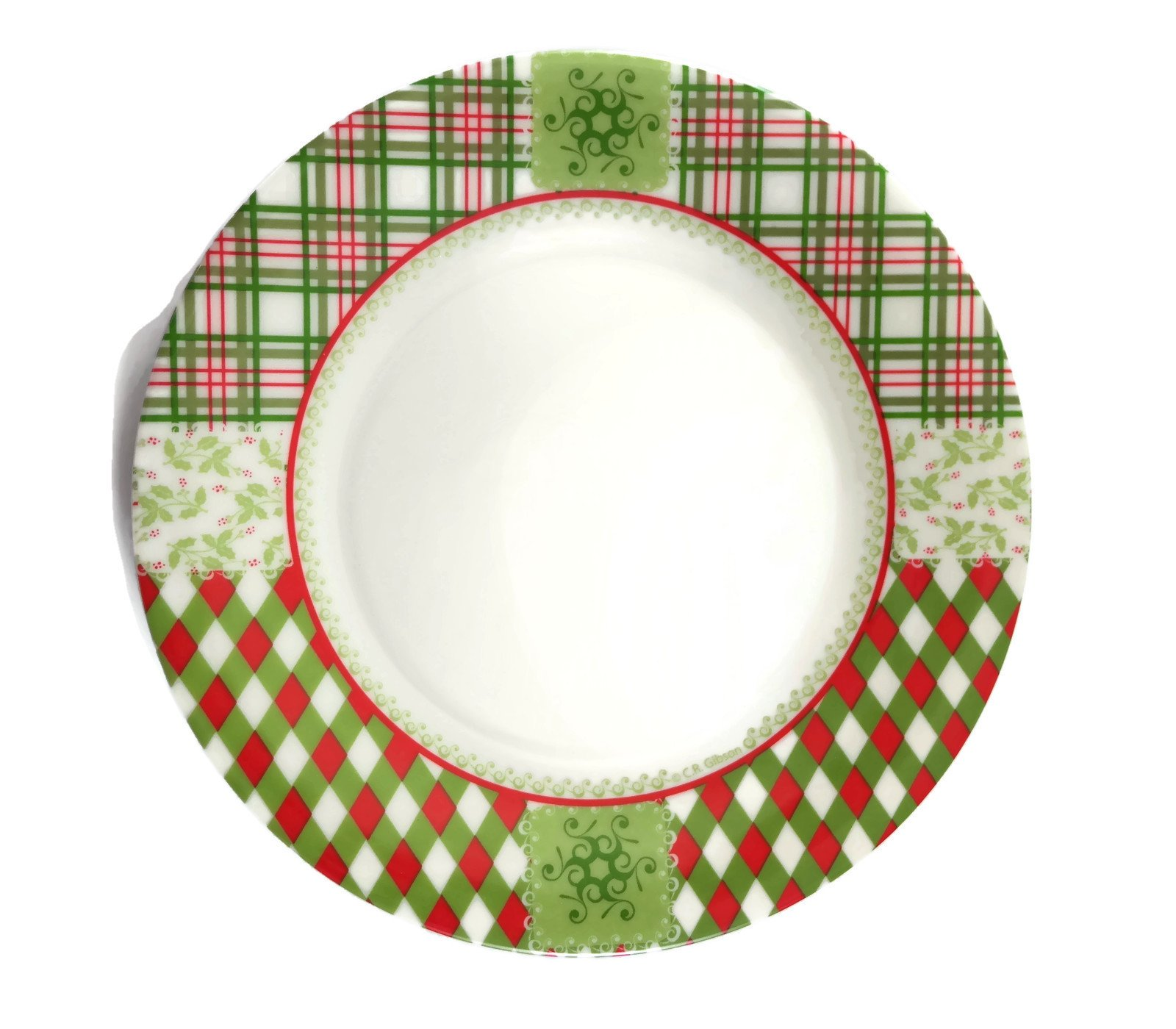 get quotations cr gibson green and red plaid classic christmas dessert plates set of 6 - Christmas Dishes Cheap