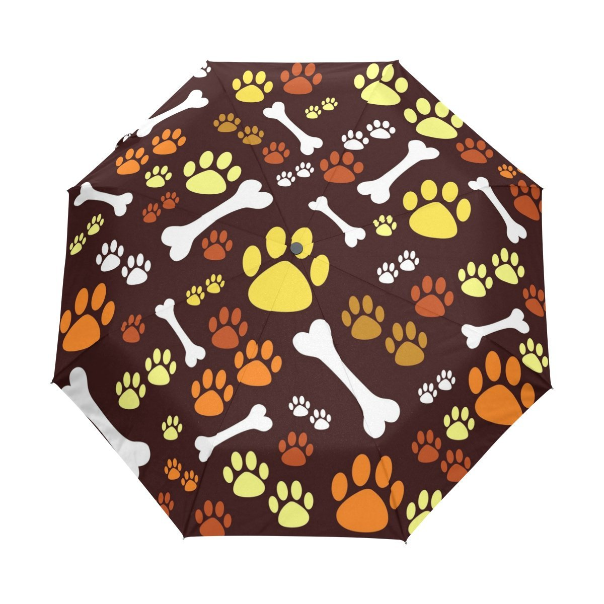 WOZO Colorful Dog Puppy Paw 3 Folds Auto Open Close Umbrella