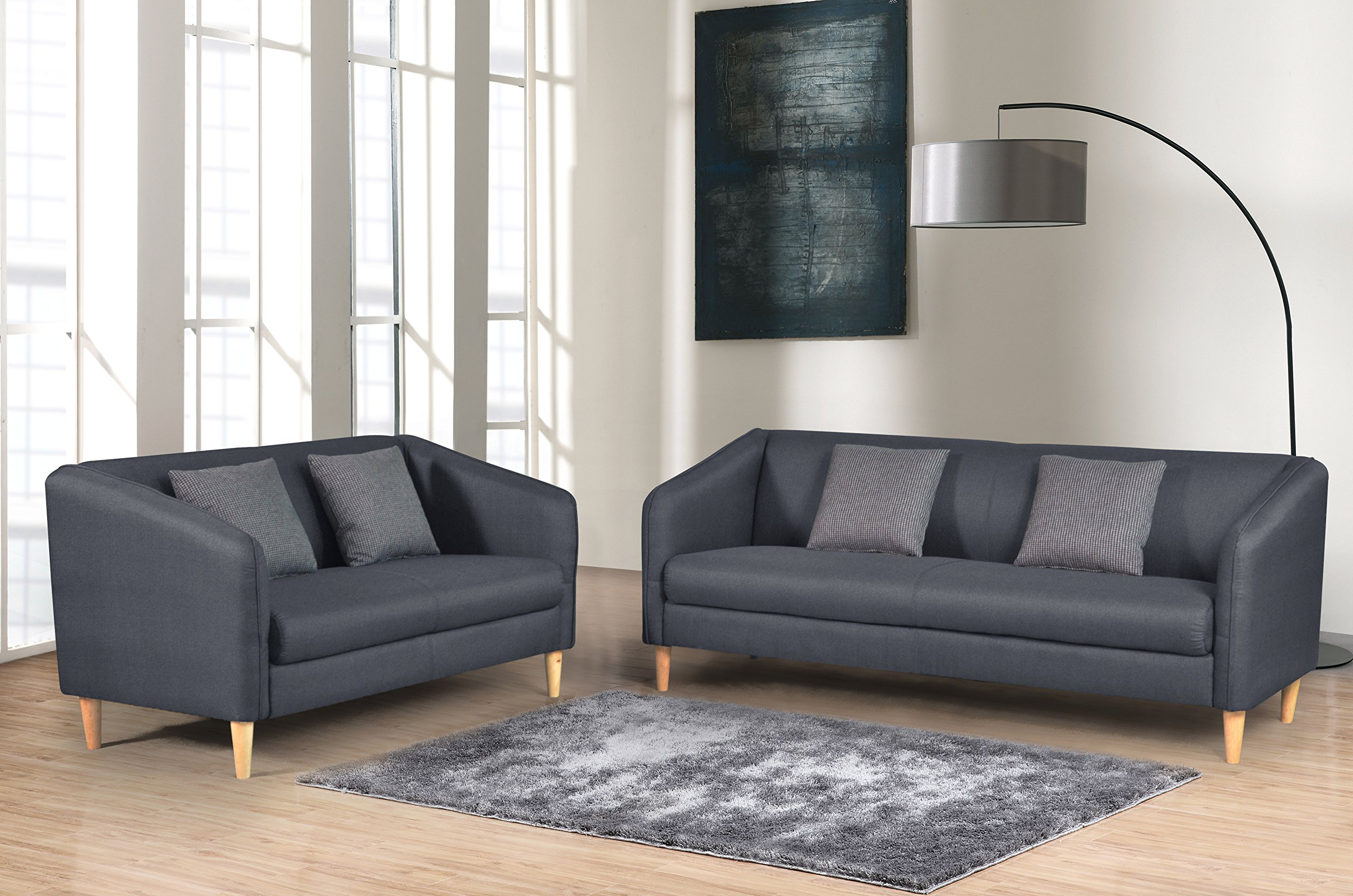 Container Furniture Direct Helton Collection 2 Piece Collection Modern Reversible Fabric Living Room Sofa Set, Dark Grey