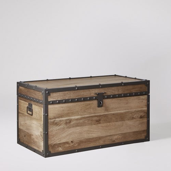 Indian Furniture Vintage Industrial Mango Wood Small Trunk Box