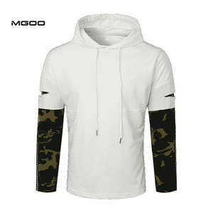 MGOO Lay open camo sleeve drawstring hoodie Customized muscle fit two piece hoodie wholesale