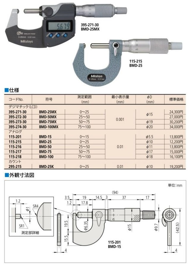 Electronic Spherical Face Mitutoyo Micrometer  395-271