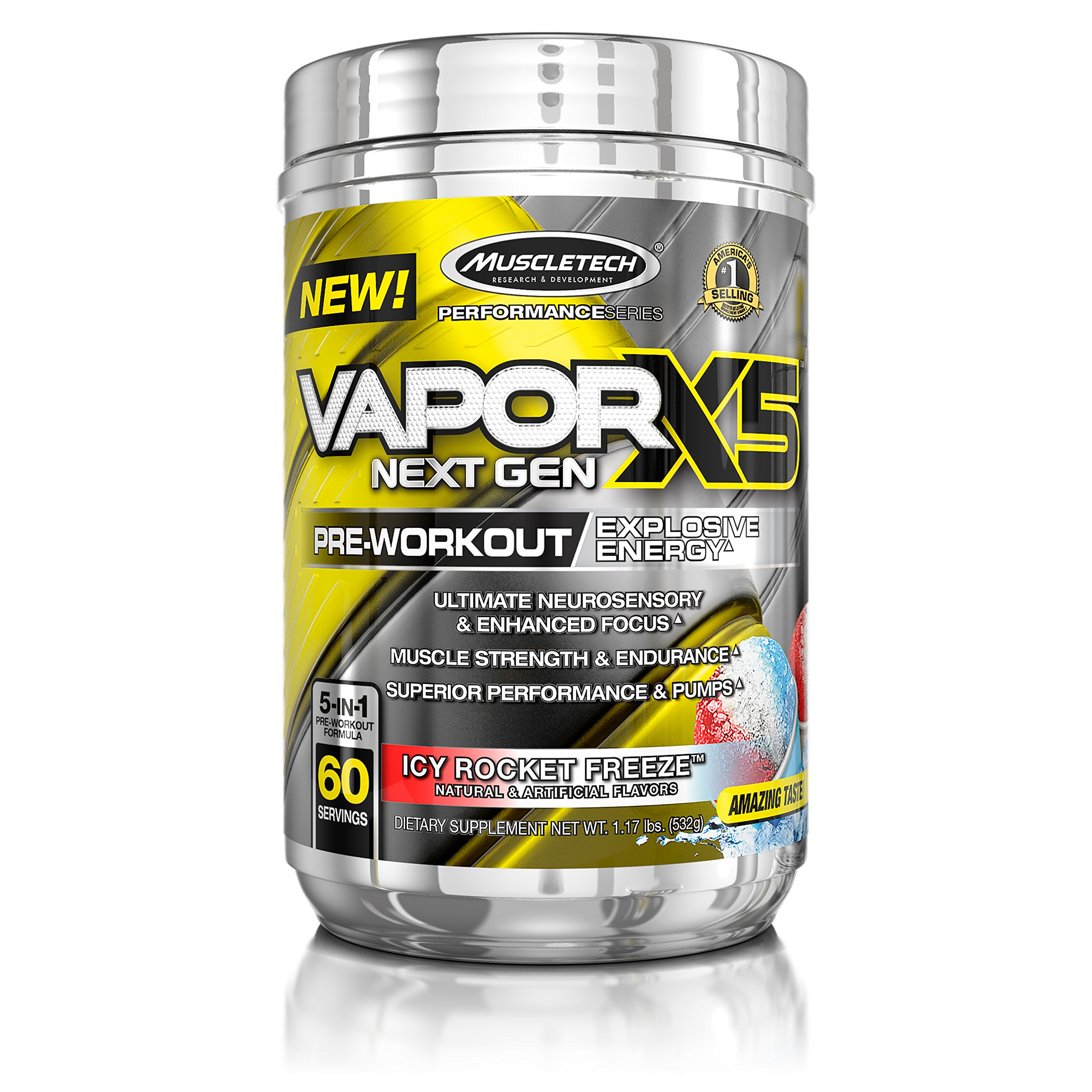 MuscleTech Performance Series Vapor X5 Next Gen Pre-Workout Powder 1.17 lbs, 60 servings
