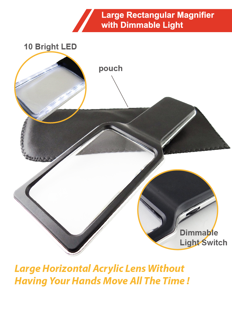 Rectangular Handheld Lighted Reading Magnifier with Dimmable SMD LED