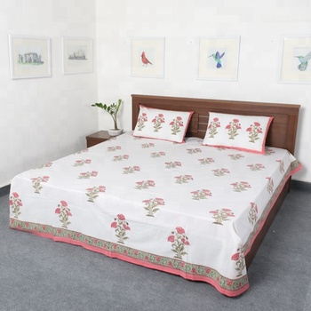 Vihaan Impex Jaipuri Best Hand Block Printed Double Bed Size White Color Sheet