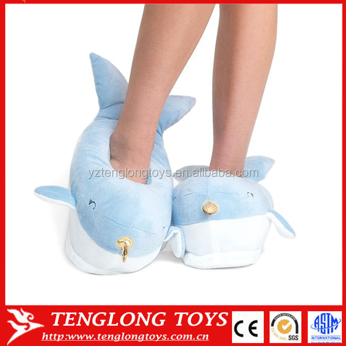 41cbd4c43ce Promotion Soft Plush Shark Blue Whale Slippers With Led Light - Buy ...