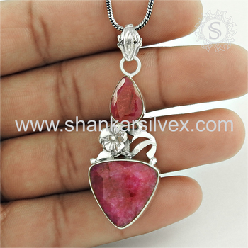 Beautiful design ruby gemstone pendant handmade 925 sterling silver jewelry wholesaler