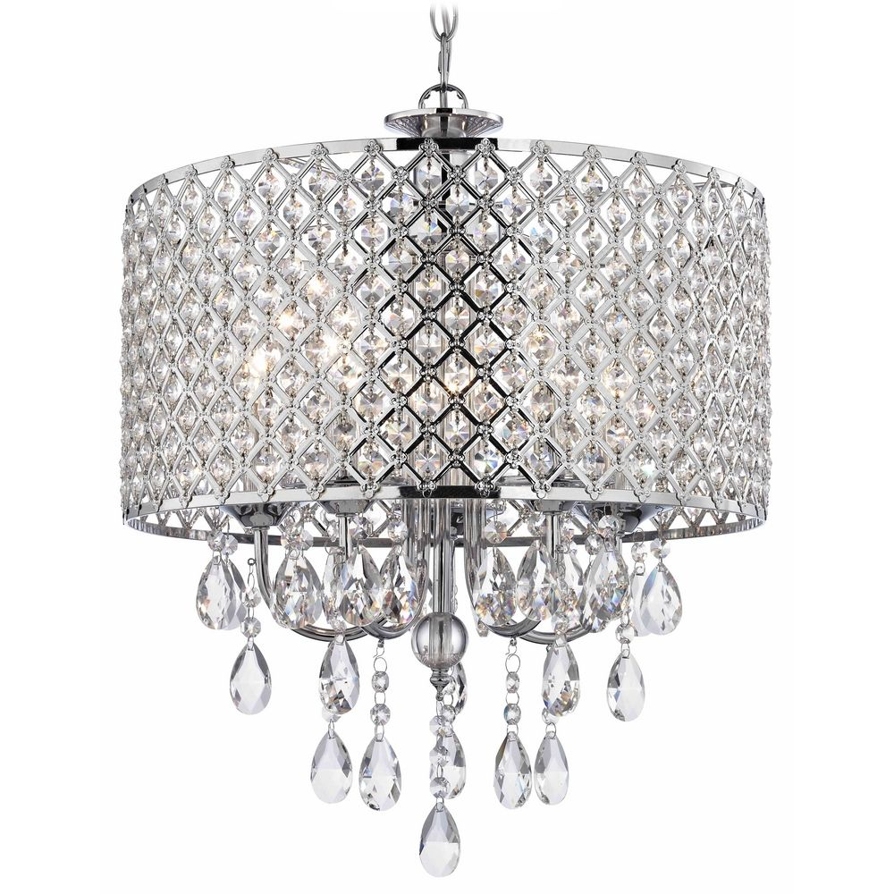 Crystal Chrome Chandelier Pendant Light With Beaded Drum Shade Chandeliers Lights Modern Round