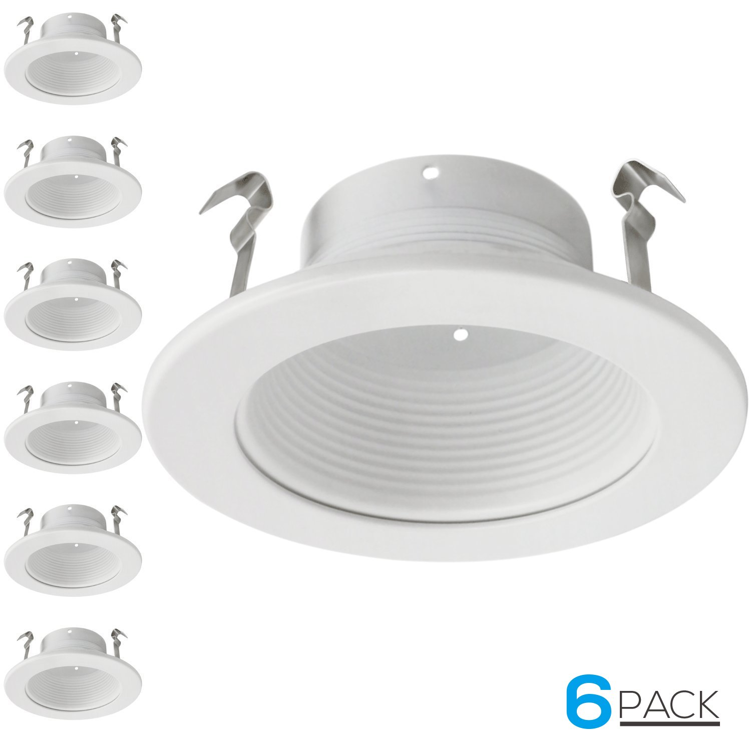 Get quotations · 6 pack 4 inch recessed can light trim with white metal step baffle for 4