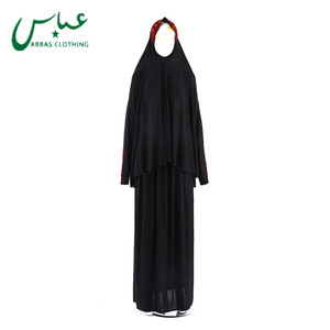 Hand-Making muslim women Dress black abaya hijab clothes Prayer Dress