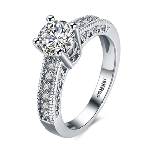 Round CZ 925 Sterling Silver Plated White Gold Plated Wedding Ring Set Women's Size 6-9