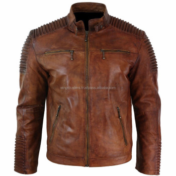 6fe3b7a69 New Arrival Mens Vintage Biker Style Wax Distressed Brown Leather Jacket -  Buy Biker Black Men's Leather Jacket Soft Lambskin/ Sheepskin Fashion ...