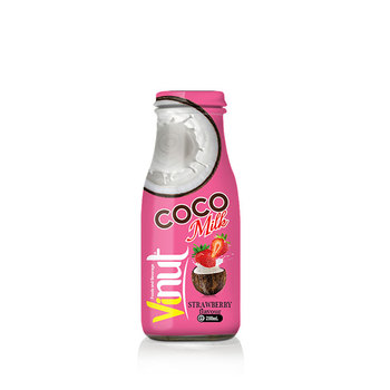280ml Glass Bottle wholesale organic coconut water milk with Strawberry flavour