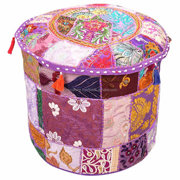 Fabulous 16 Embroidered Purple Patchwork Pouffe Home Decor Cotton Floral Traditional Footstool Ethnic Bench Ottoman Pouf Cover Buy Wholesale Indian Pouf Uwap Interior Chair Design Uwaporg