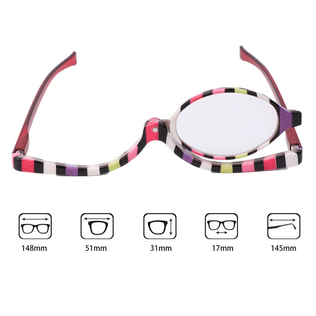 599efc6a9648 Get Quotations · Allrise Magnifying Makeup Eyeglasses, Cosmetic Reading  Glass Folding Eyeglasses Eyewear +1.0~+4.0