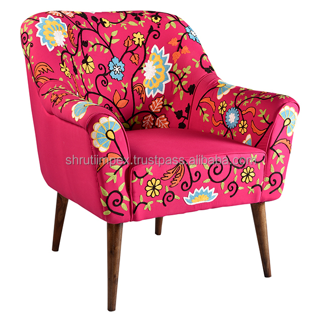 Indian Handmade Embroidery Pink Sofa