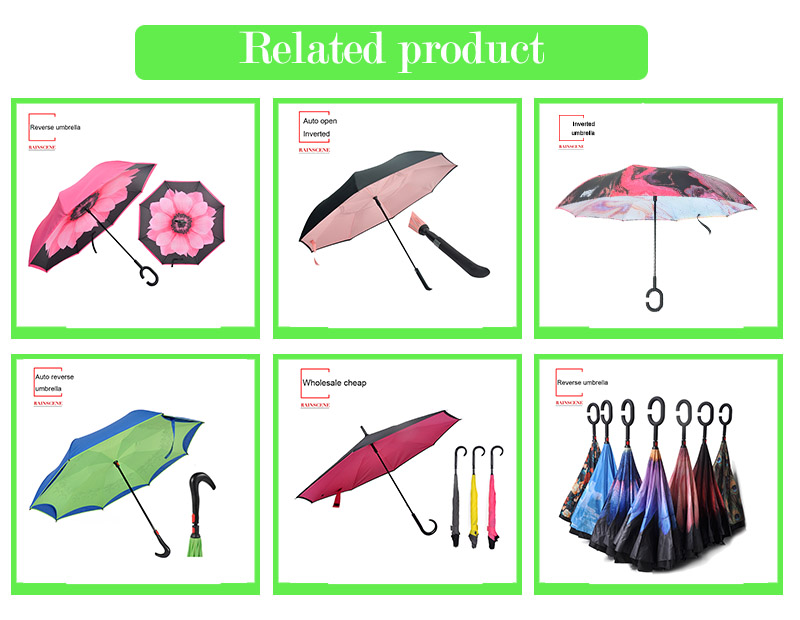Customized Logo Printed Windproof Double Layer Reverse Umbrella