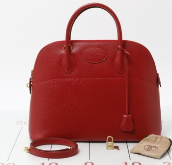 a30b0cf0d85 Used brand designer HERMES Borido 37 Red Genuine leather Handbags for bulk  sale.