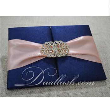 Wedding Box Folio Rose Gold Invitation Card Ribbon Dupioni Silk Wholesale
