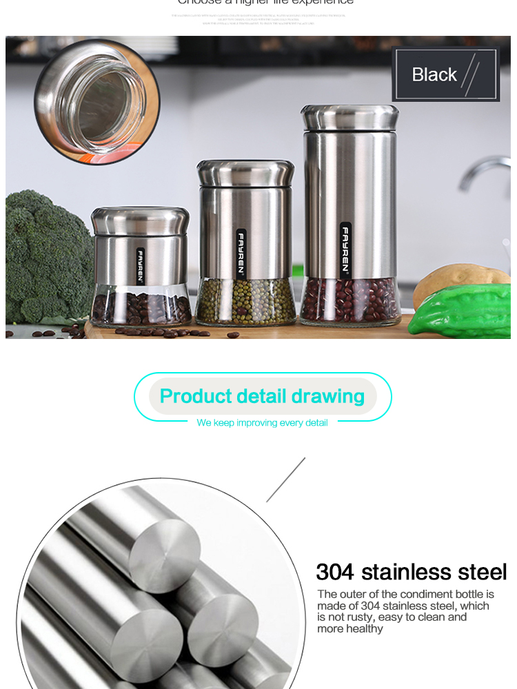 wholesale kitchen stainless steel glass food storage container candy jar