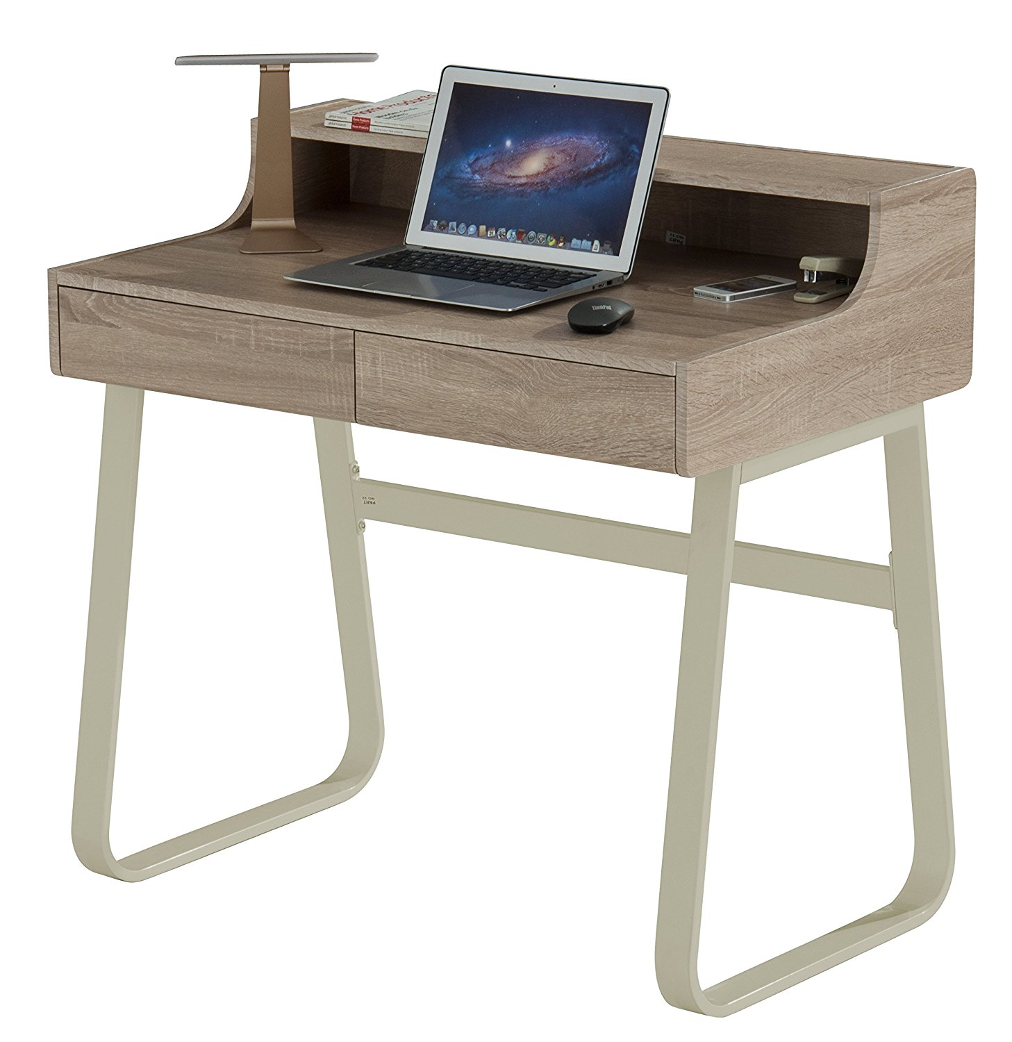 ProHT Modern Office Computer Desk,Small Desk : Writing/PC/Laptop & Writing Table/Workstation, CARB Certified (Sonoma Oak and Ivory 05006-A)