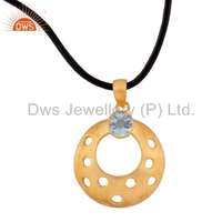 Blue Topaz Gemstone Girls Pendant Yellow Gold Plated Silver Designer Fashion Pendant Manufacturer