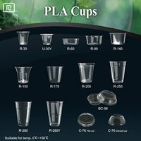 T-PLA2 12oz 14oz 15oz 16oz 18oz 20oz 22oz 24oz biodegradable eco disposable printing customized logo plastic cup with lid