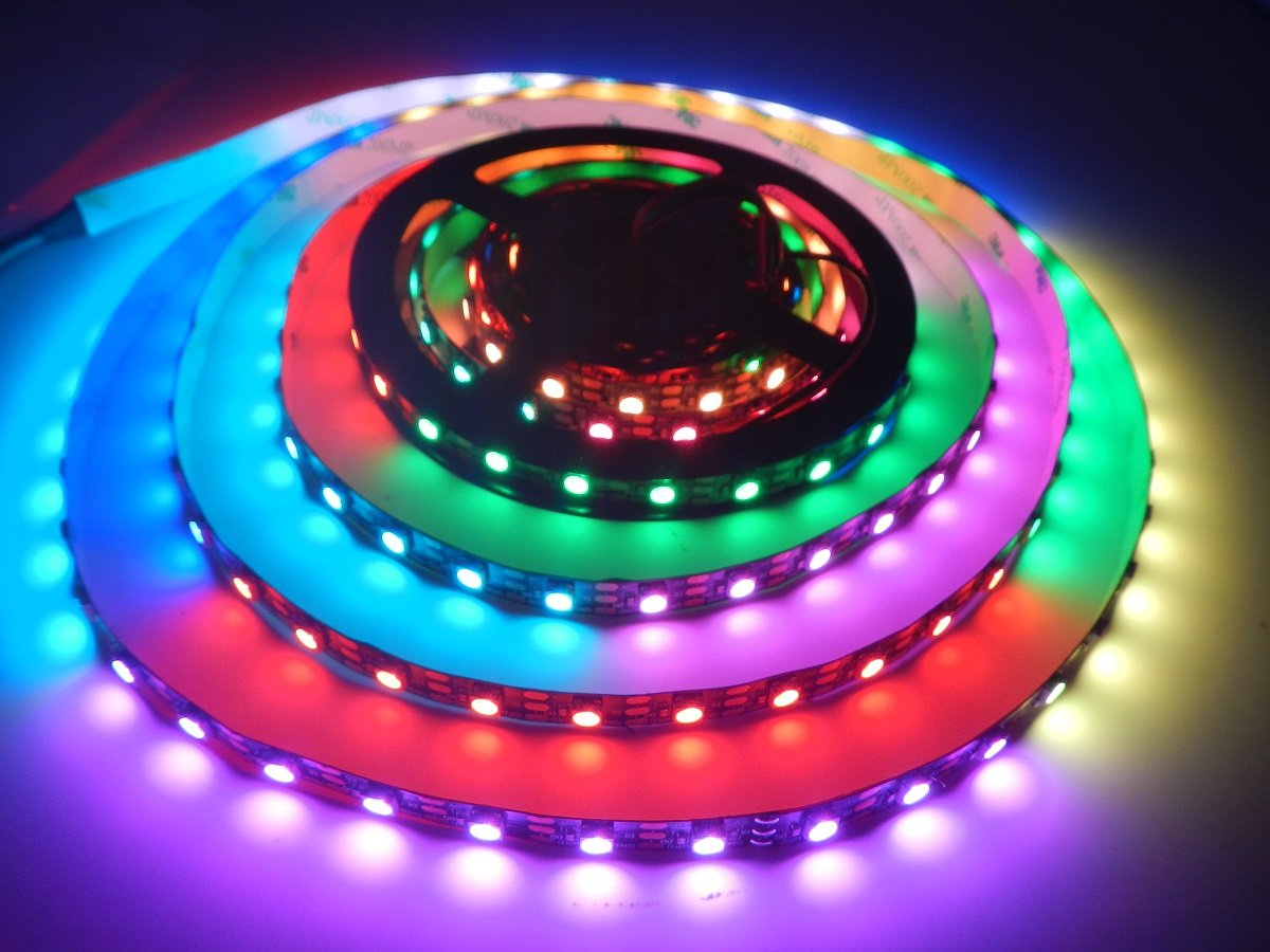 Visdoll 16.4Ft WS2812B 60Leds/m Digital Rgb Led strip light, 300 Pixels Individually Addressable Dream Color Chasing Led Light Tape DC 5V Non-waterproof (Black PCB)