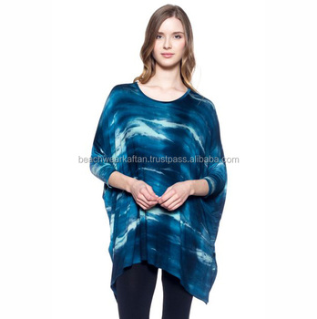 Bright Colored Fancy Designer Tops For Women's Wear Rayon Tie Dye Poncho Top