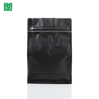 Stock product 0.5lb 250g 8oz matte black flat / block / box bottom stand up pouch bag with zipper for tea snack nuts spice
