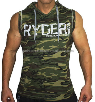 gym sleeveless hoodie custom Dry fit pullover camo hoodies for sale