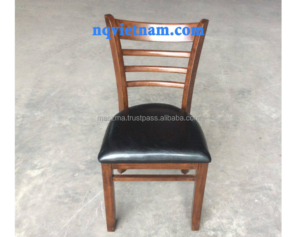 Ladder back chair with black pu seat rubber wood walnut color