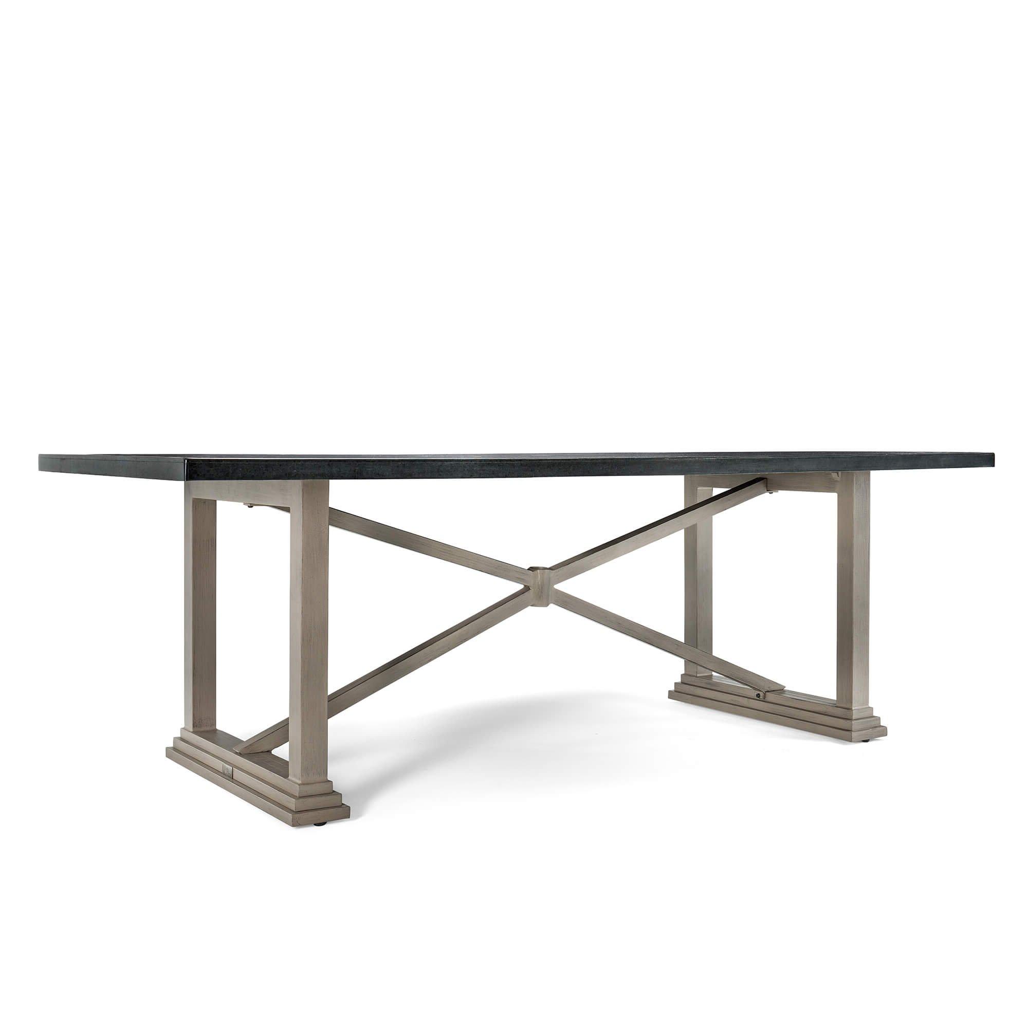 Blue Oak Outdoor Saylor Patio Furniture Stone Rectangular Natural Stone Top Dining Table